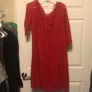 Lane Bryant Red Lace Dress: size 18
